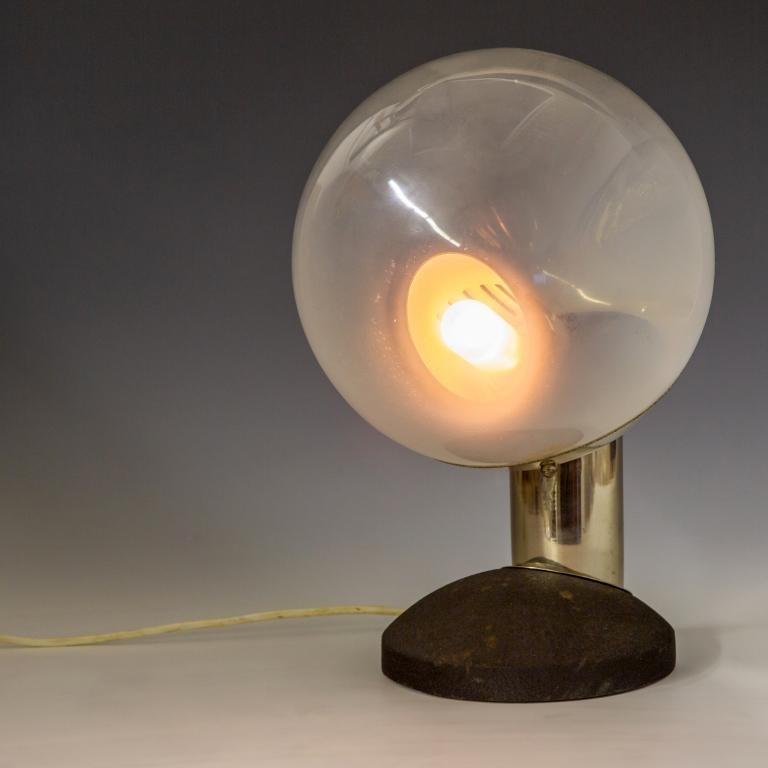 Modern Italian Space Age Chrome Glass Globe Lamp
