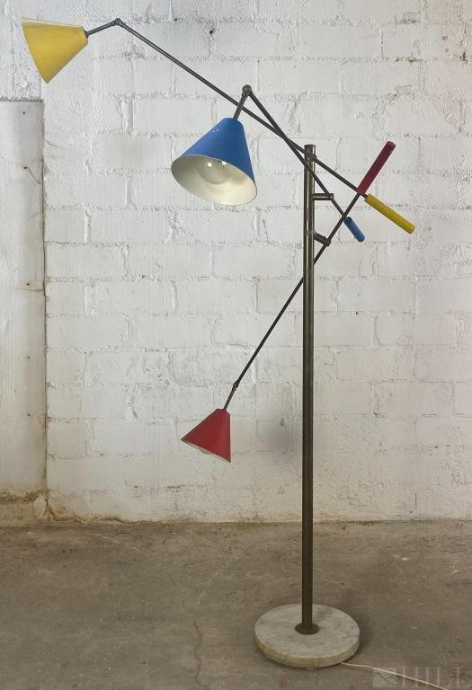 Angelo Lelli, Early Three-Arm Modernist Floor Lamp