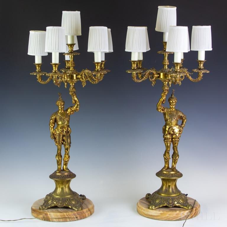 PR 19C French Brass Conquistador Candelabras Lamps