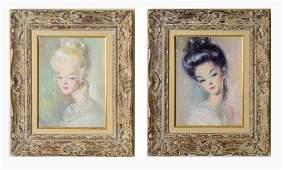 Pair Mid Century Big Eyed School Female Portraits