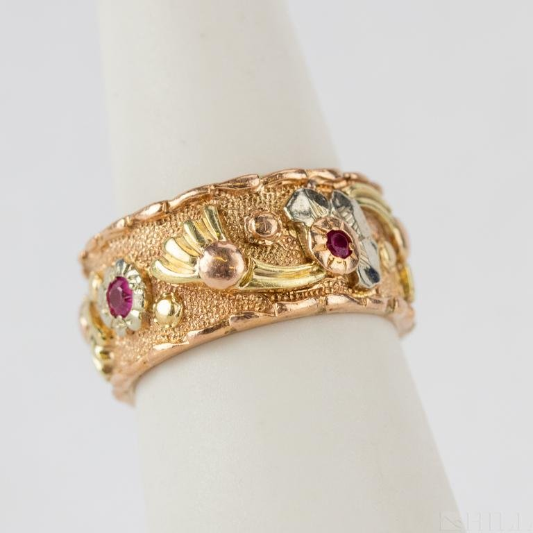 Art Deco 14k White Yellow Rose Gold Ruby Ring Band