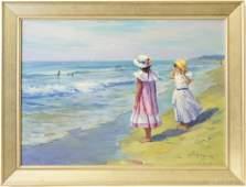 Ellen Haines Figural Beach Landscape Oil Painting