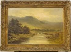 Antique Mountain Landscape Oil On Canvas Painting