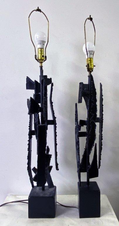 Pair Harry Balmer Brutalist Welded Iron Table Lamp