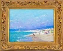 Niek Van Der Plas b1954 Beach Scene Oil Painting