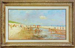 William Helfferich 20C Figural Beach Oil Painting