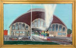 Joseph Bready American Folk Art Train Oil Painting