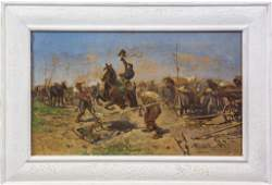 after Josef Brandt Oil On Canvas Army Oil Painting