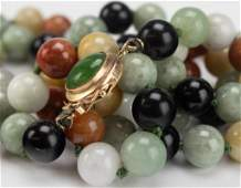 14k Gold Coral Onyx Jade Beaded Strand Necklace