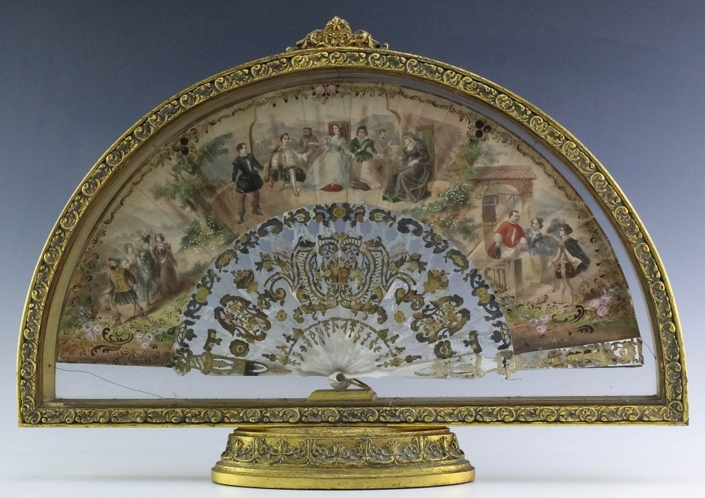 Victorian Hand Painted Mother Of Pearl Framed Fan