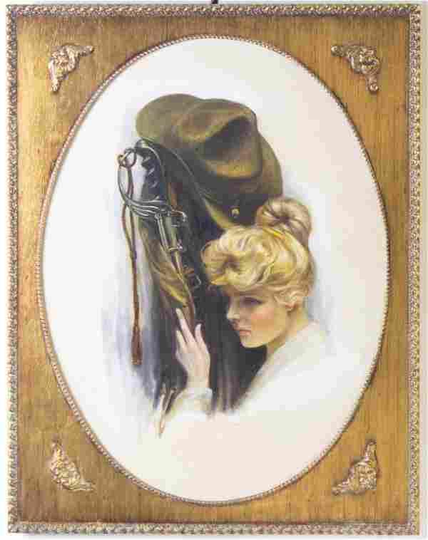 Charles Gates Sheldon Military Widow Oil Painting