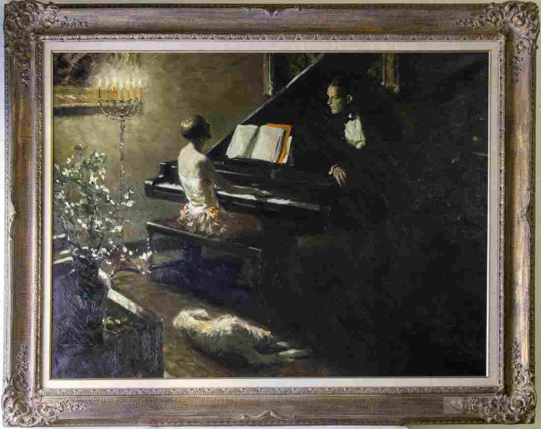 Mystery Artist Couple At Grande Piano Oil Painting