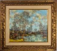 Jean-Louis Vergne Landscape Oil Painting On Canvas