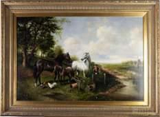 Figural Pastoral Landscape Oil on Canvas Painting