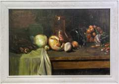 Mystery Artist Signed 19th C Still Life Painting