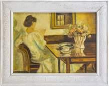 Mystery Artist Figural Interior Room Oil Painting