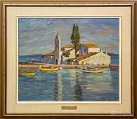 Manos Rovithis Greek Coastal Seascape Oil Painting