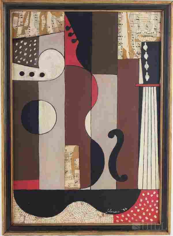 Albino Galvano Cubist Mixed Media Collage Painting