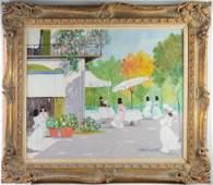 Luigi Cagliani Italian Street Cafe Oil Painting
