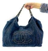 Chanel Denim XL Coco Cabas Tote Shoulder Bag Purse