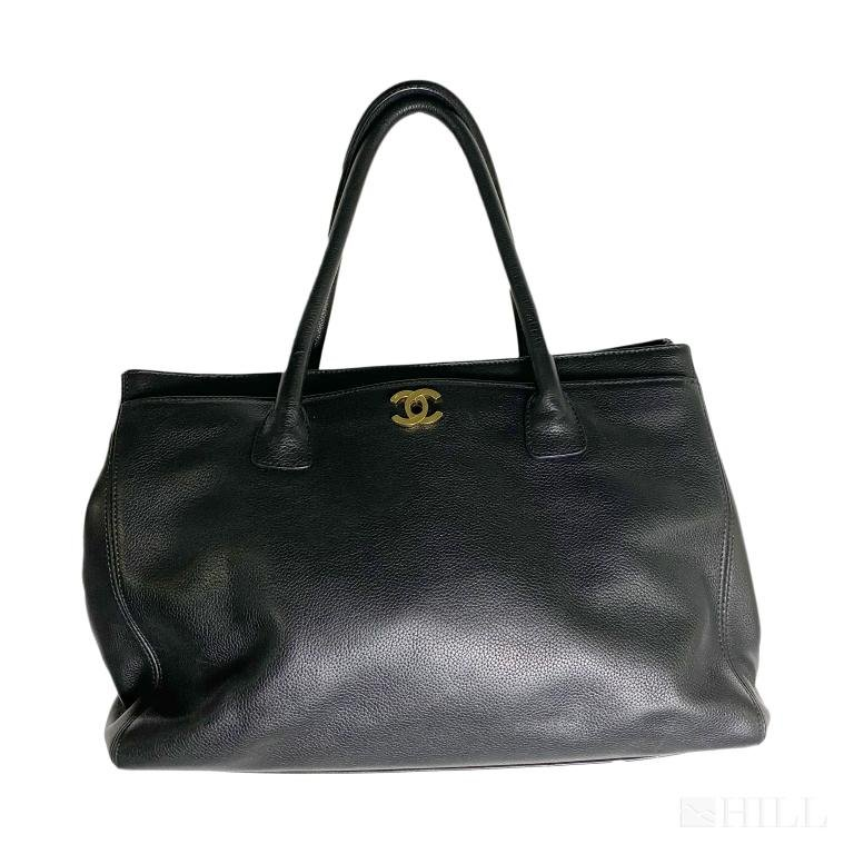 Chanel Black Lamb Skin Executive Tote Bag Purse