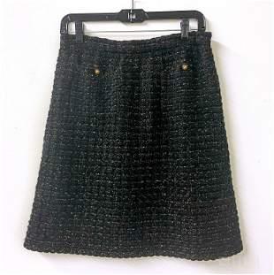 Chanel Gold Black Tweed Wool Short Skirt Size 10
