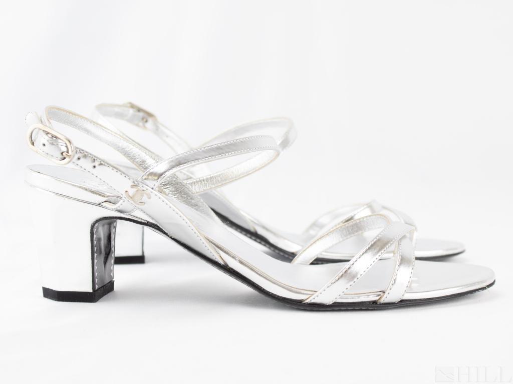 Chanel Sliver Leather Strappy Heel Sandal Pump 36