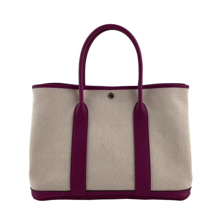Hermes Garden Party Beige & Pink Purse Tote Bag