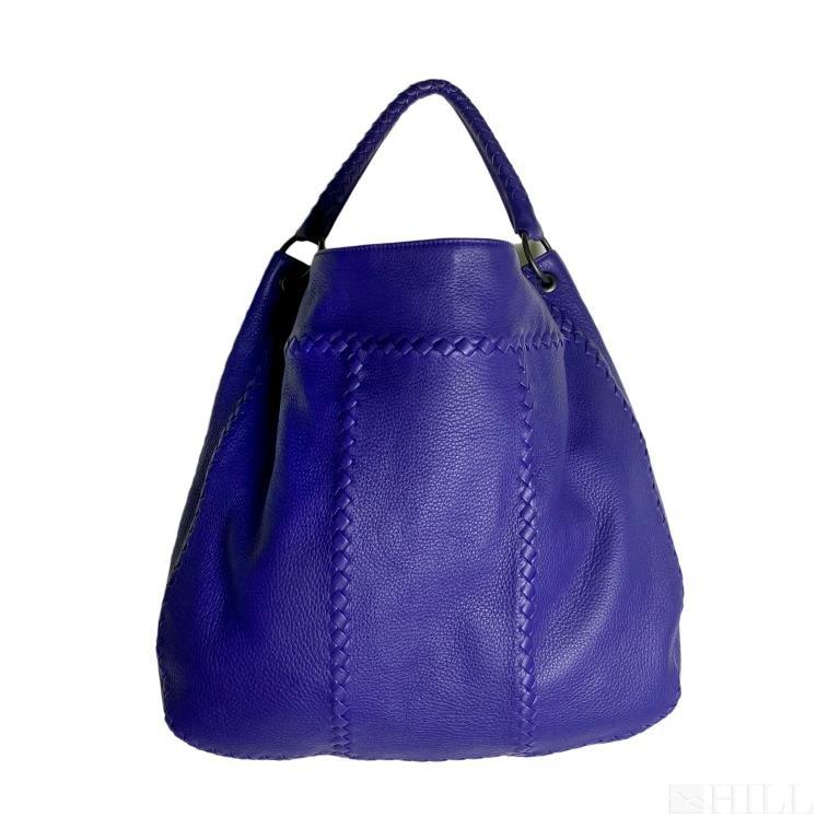 Bottega Veneta Purple Leather Cervo Hobo Bag Purse