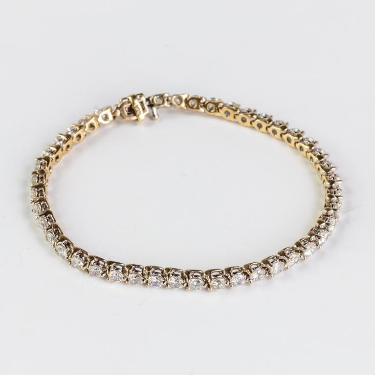 "14k White Gold 6 CTTW Diamond Tennis Bracelet 7"""