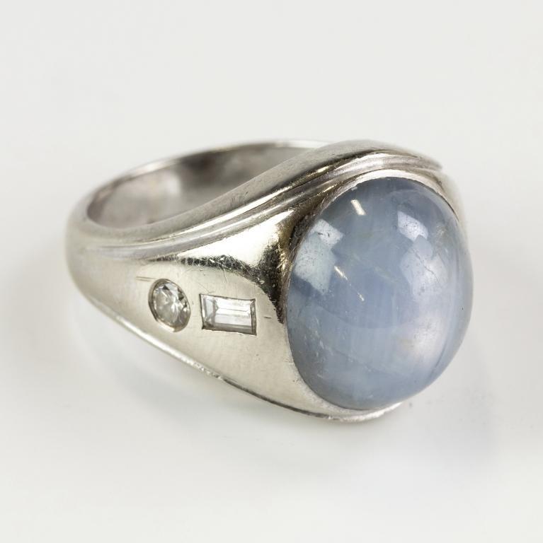 Men's 14K Gold Blue Star Sapphire Diamond Ring