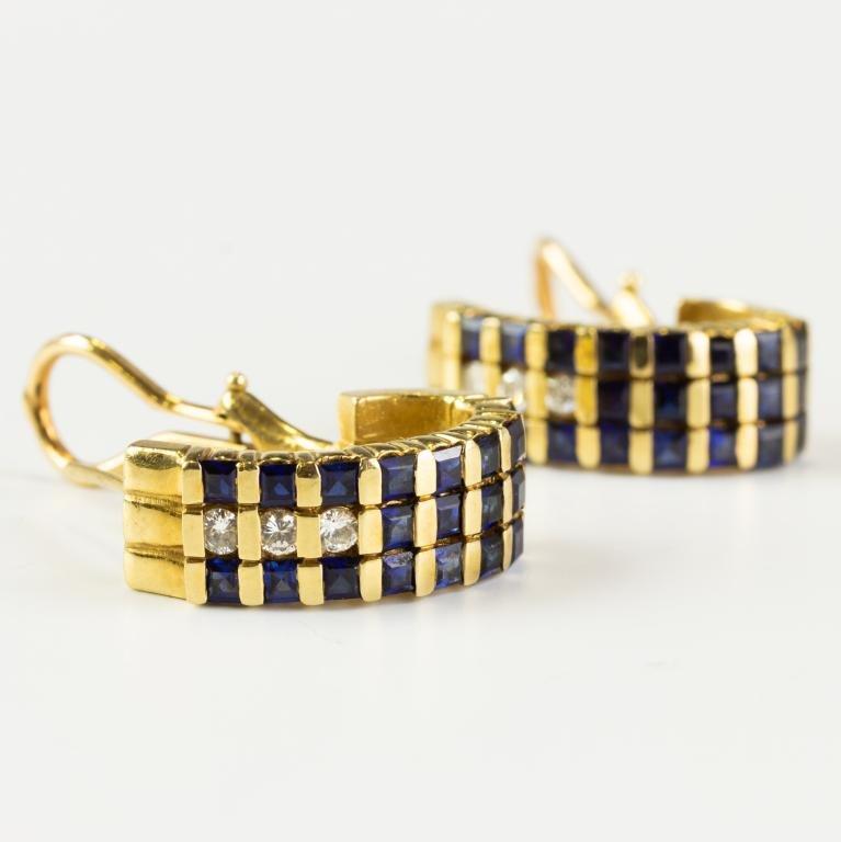 Ladies Pair Diamond & Sapphire 14k Gold Earrings