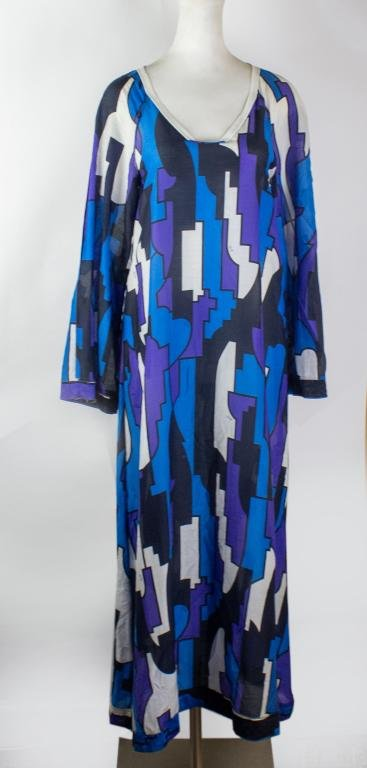 Emilio Pucci Long Sleeve Gauze Cotton Kaftan Dress
