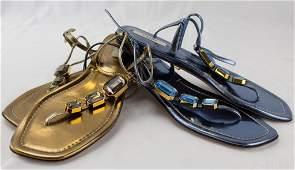 Prada LOT 2 Blue Gold Jeweled Flat Sandals 36