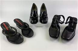 Prada LOT 3 Blk Shoes Sandals Platform Pumps 355