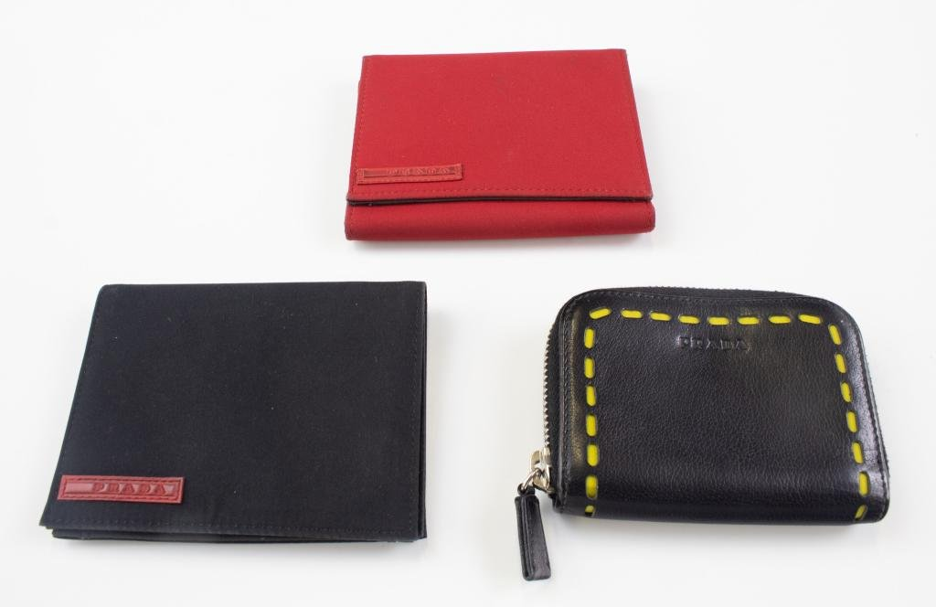 Prada LOT 3 Italy Scarlatto Wallets Nylon Leather
