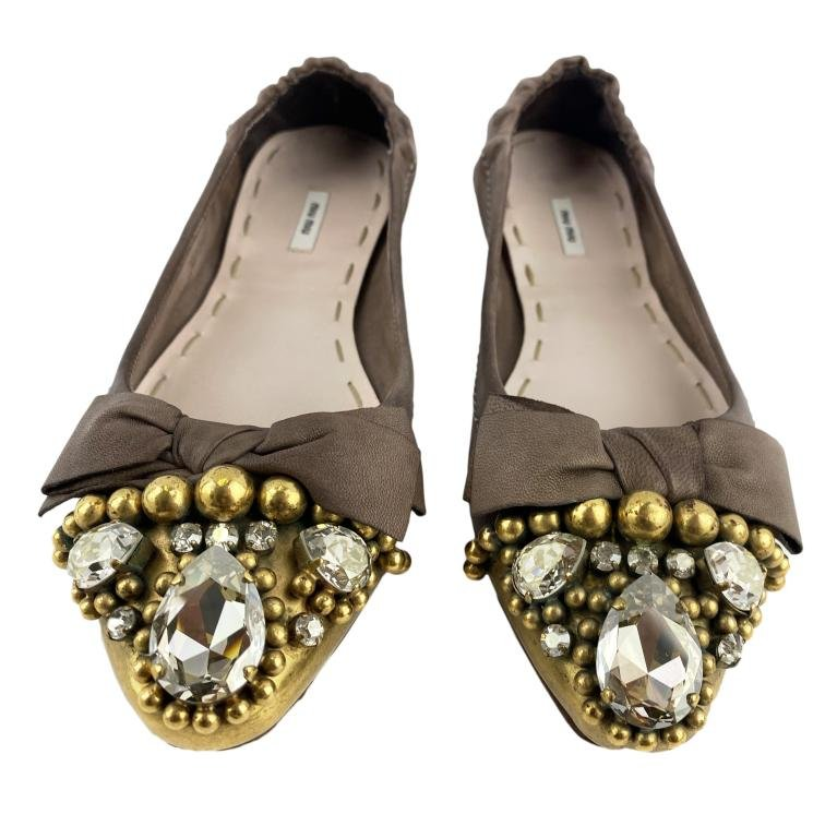 Miu Miu Brown Leather Jeweled Ballerina Flats 36