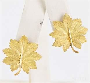 Pair Buccellati 18k 750 Yellow Gold Leaf Earrings