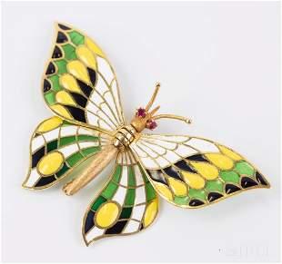 Plique A Jour Enamel 18k 750 Yellow Gold Butterfly RARE