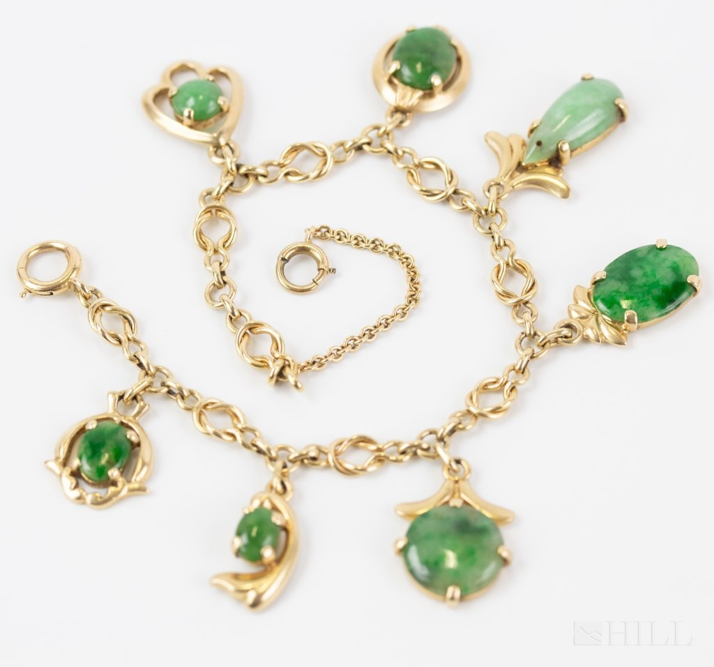 Vintage 14k Yellow Gold Green Jade Charm Bracelet