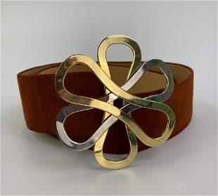 Lanvin Paris Suede Leather Metal Knot Womens Belt