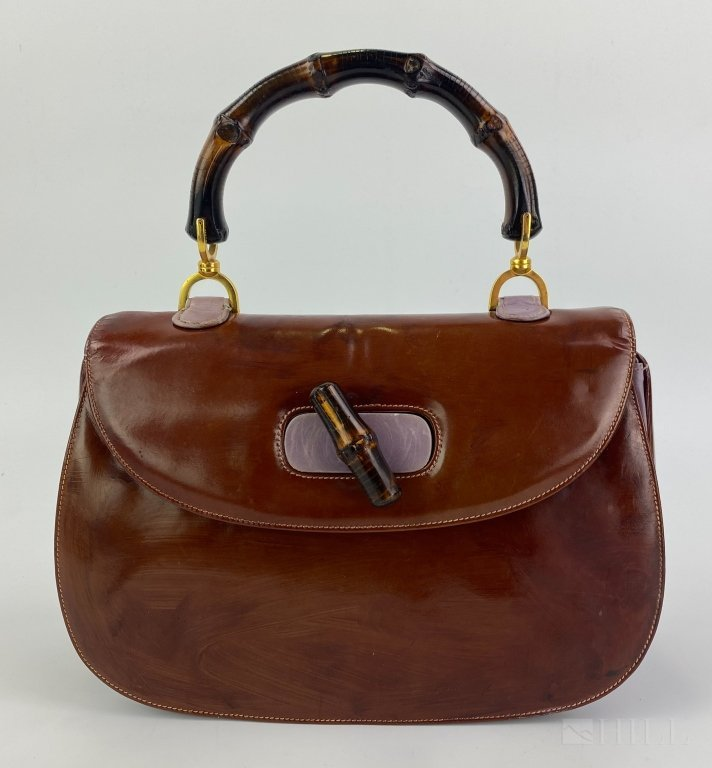 Gucci 1960-70 Vintage Leather Bamboo Handbag Purse