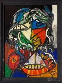Peter Keil (German B1942) Girl w Boat Oil Painting