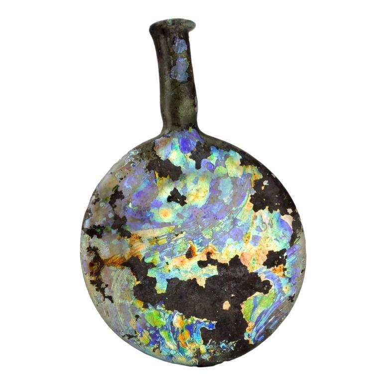 Ancient Roman Iridescent Blown Glass Vessel Flask