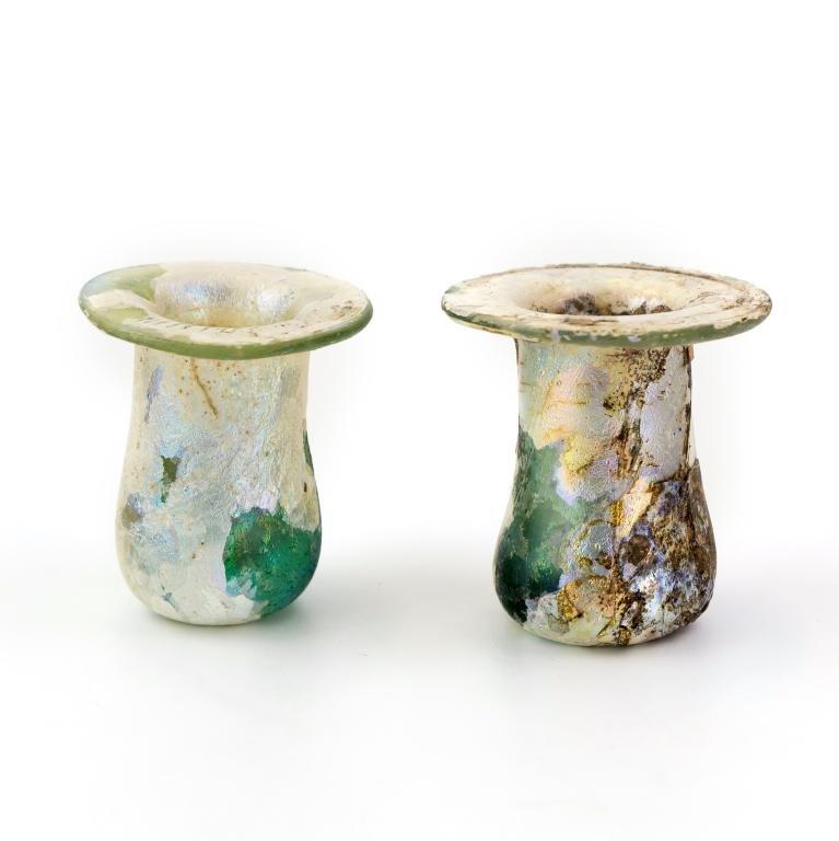 2 Ancient Roman Iridescent Blown Glass Vessels LOT