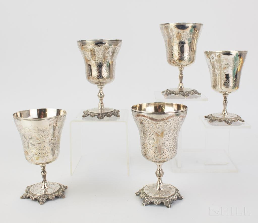 5 Tughra Ottoman Marked Silver Wine Goblets 763g