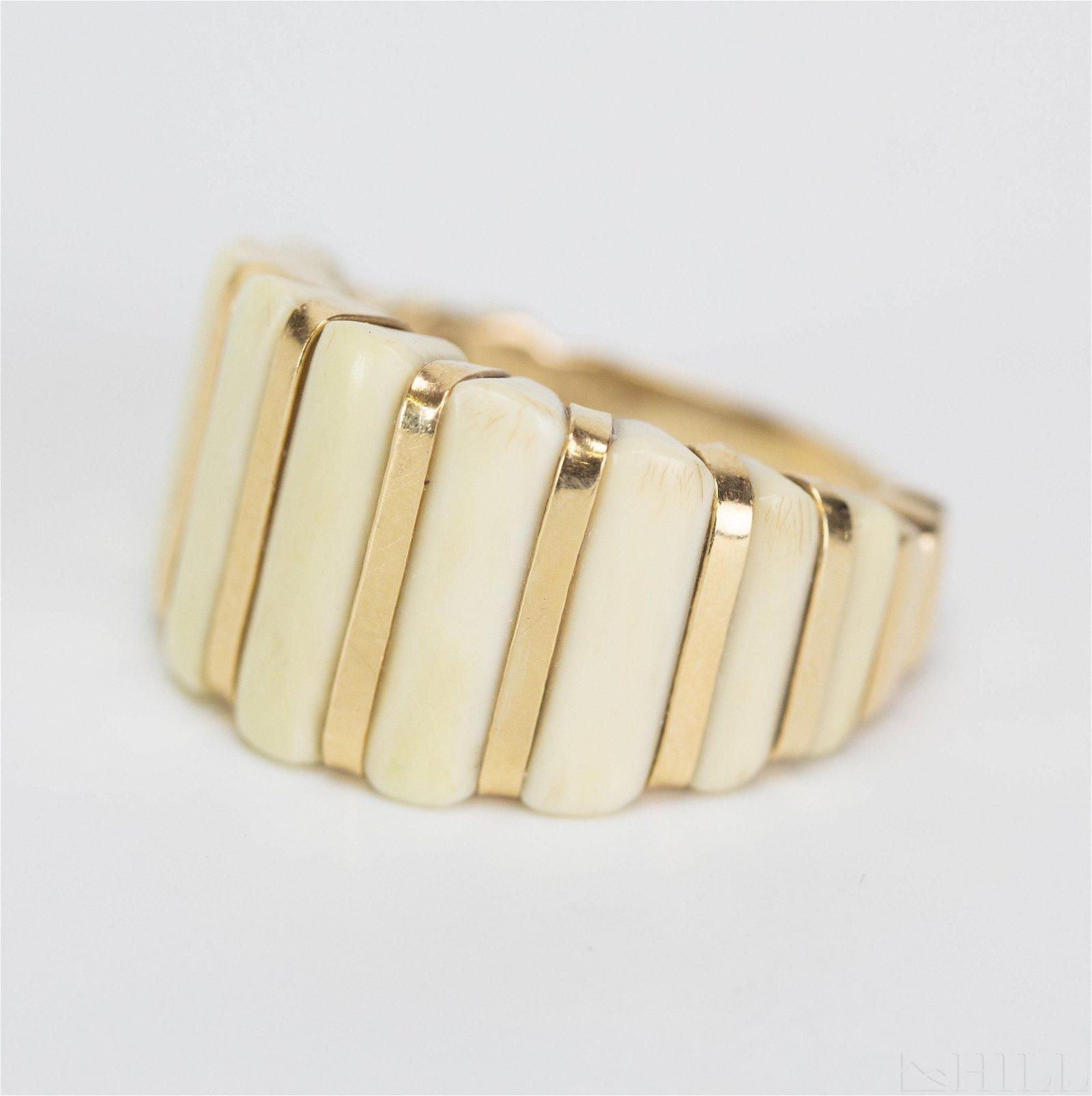 Designer Signed MAZ 14k Gold White Bone Ring Sz 5