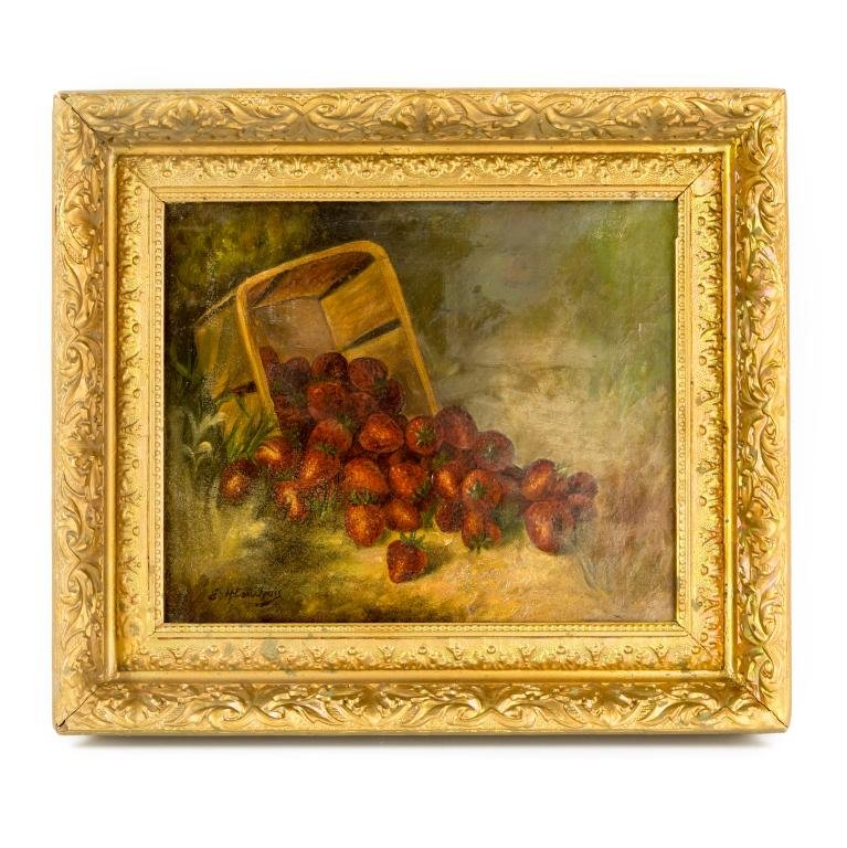 19th C Strawberries Still Life Oil Painting SIGNED