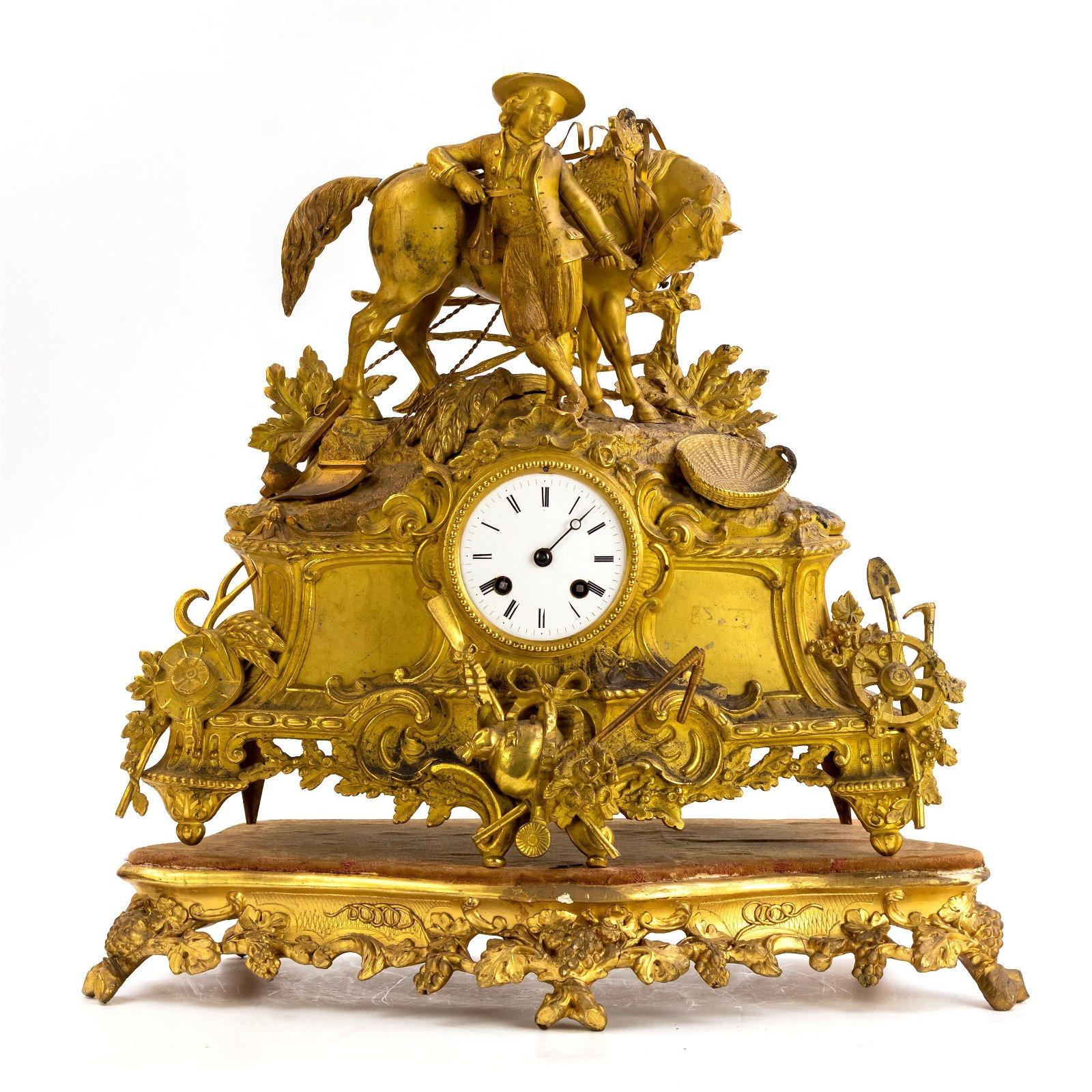 Antique French Dore Bronze Figural Mantle Clock