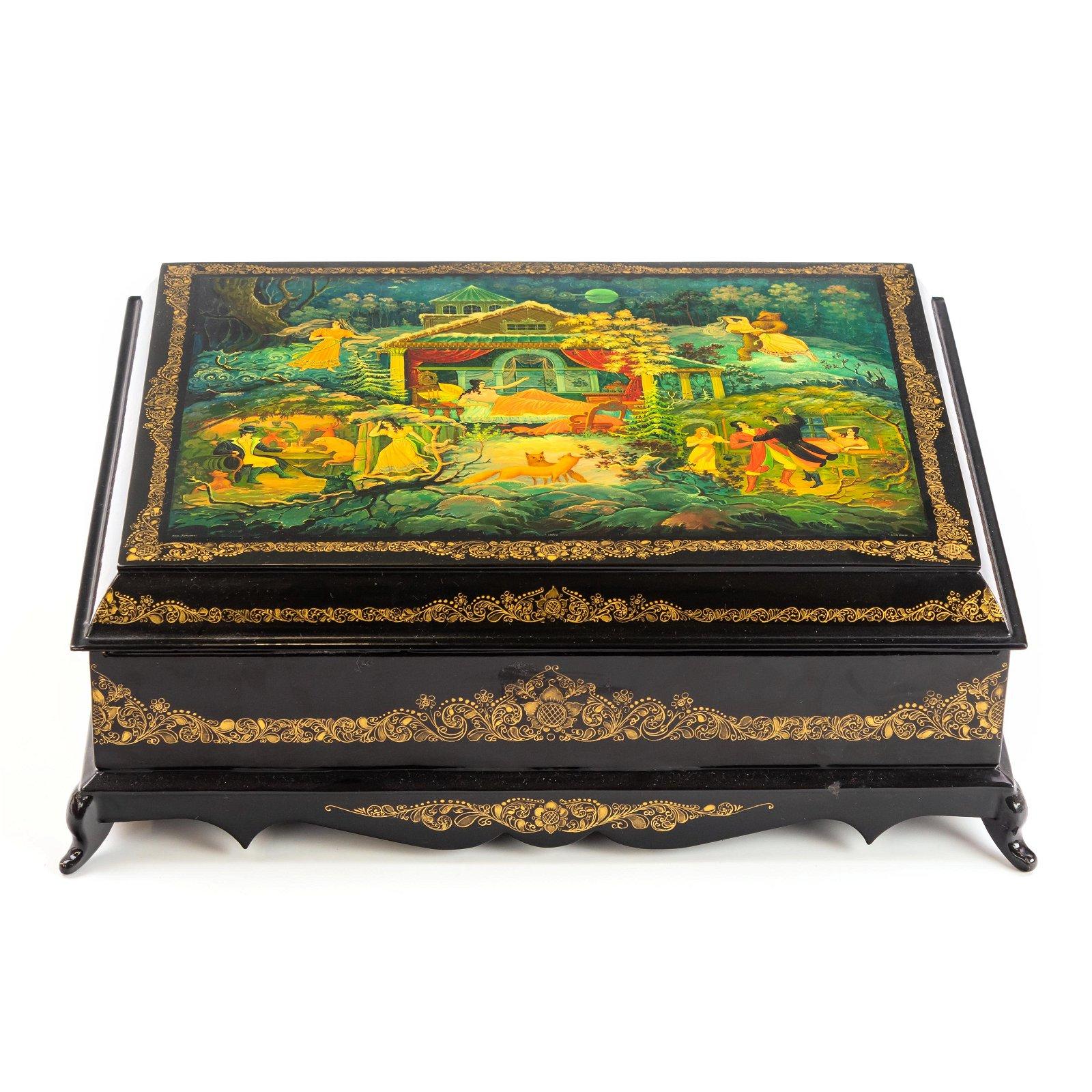 Large Russian Folk Art Lacquer Box Tea Caddy Box